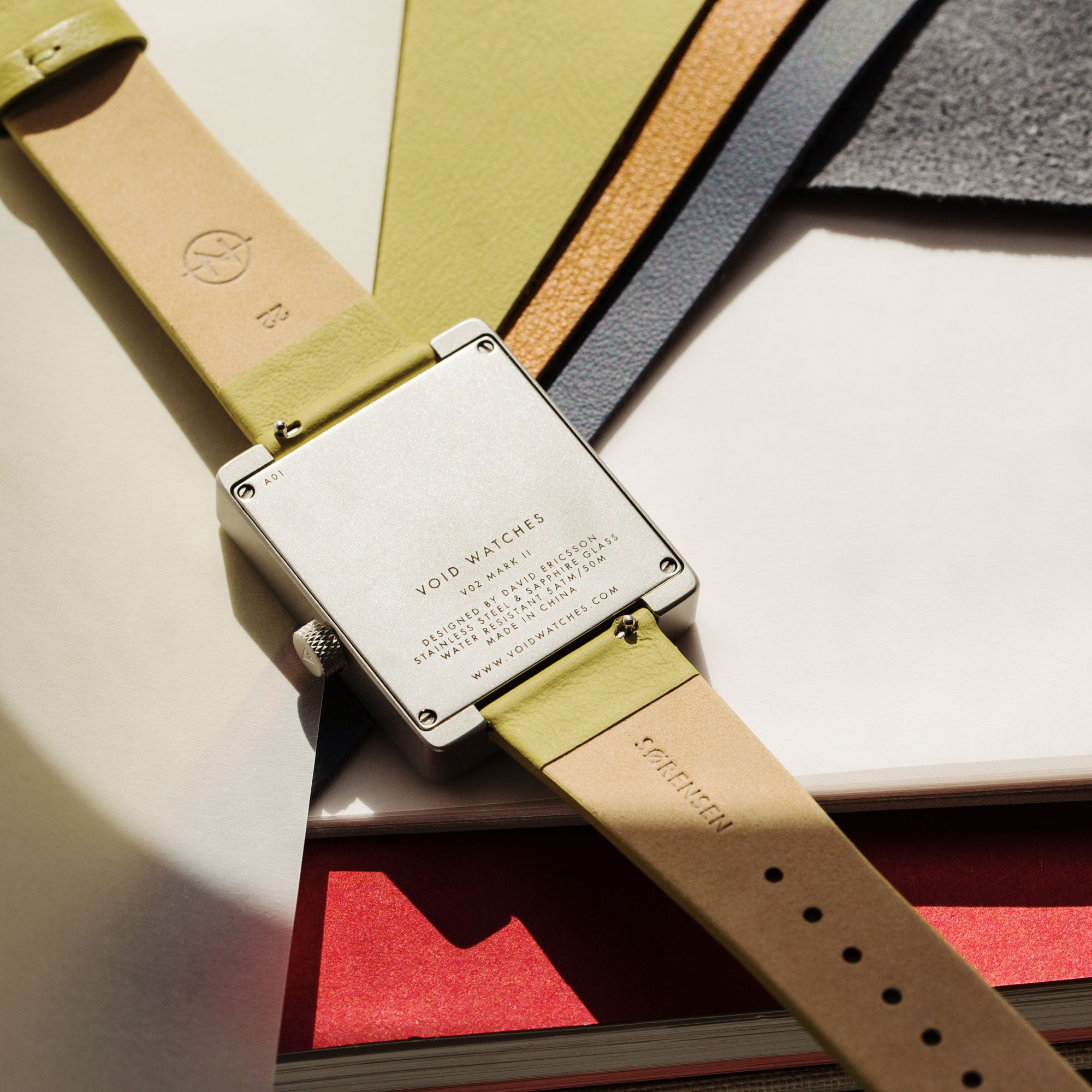Färg Leather Watch Strap Collection by VOID Watches. Leather from Danish brand, Sørensen Leather.