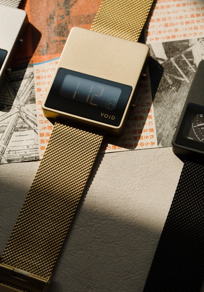 VOID Watches's iconic square watch, the V01MKII with a Milanese metal bracelet by Swedish Designer David Ericsson.