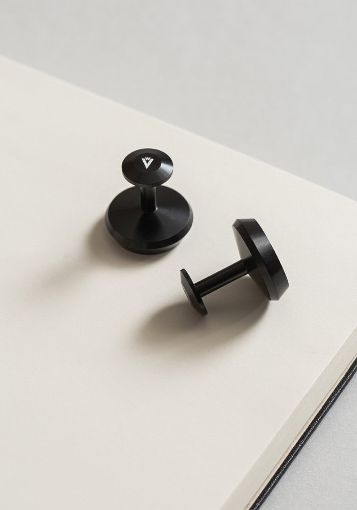 The VC1-BL aluminum cufflinks from VOID Watches, designed by David Ericsson.