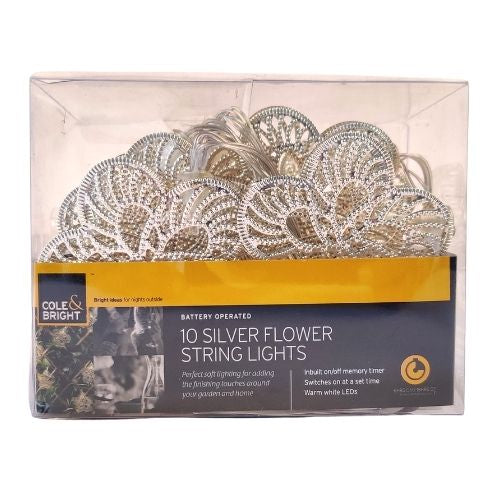Cole & Bright 10 Silver Flower String Lights