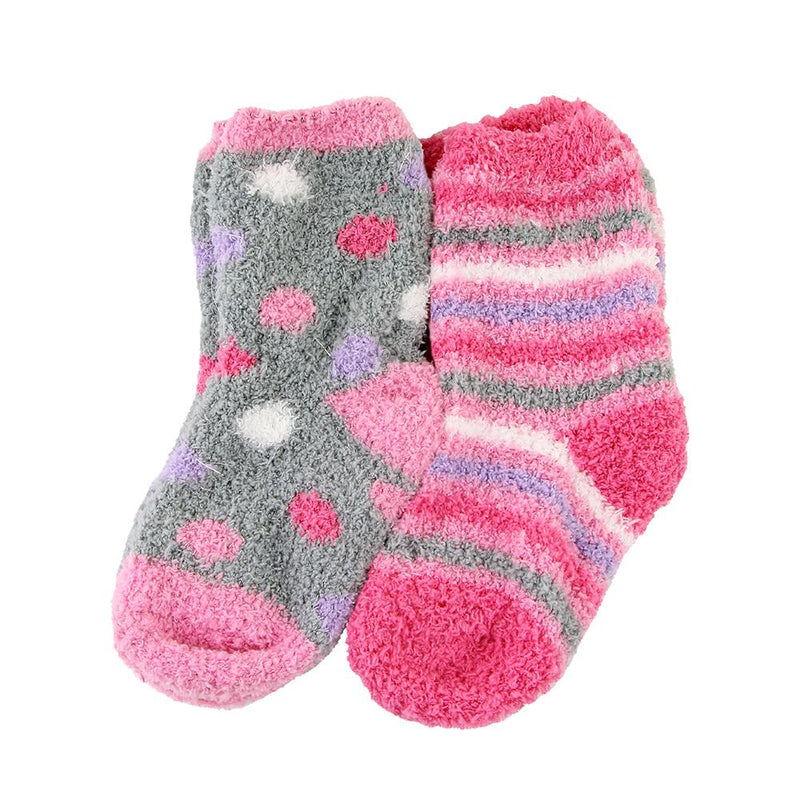 Kid's Zone Girls Cosy Snuggle Socks Pink & Grey Twin Pack 3-8yrs - FabFinds