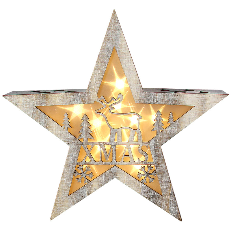 Christmas Light-Up Wooden Star Decoration Battery Operated - FabFinds