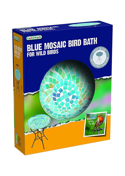 Gardman Mosaic Glass Bird Bath Blue