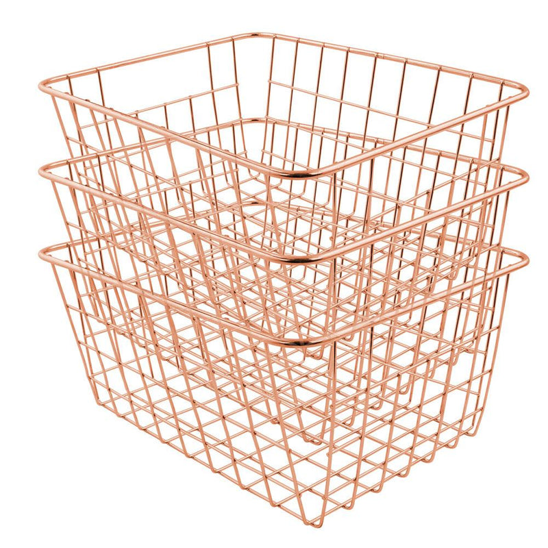 Soho Wire Storage Baskets in Rose Gold Set Of 3 - FabFinds