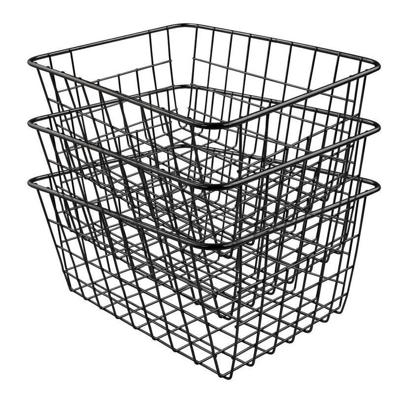Soho Wire Storage Basket in Black Set Of 3 - FabFinds