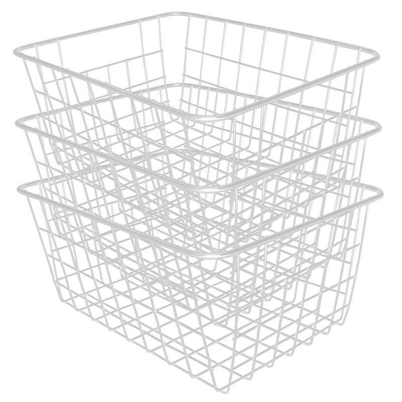 Soho Wire Storage Basket in White Set Of 3 - FabFinds