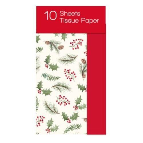 10 Pack Christmas Tissue Paper Holly Leaf Print