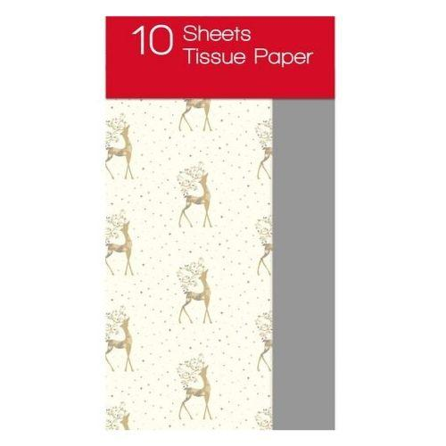 10 Pack Christmas Tissue Paper Golden Stag Print - FabFinds