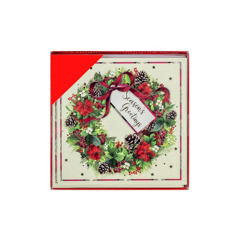 Seasons Greetings Wreath Christmas Cards Pack of 12 - FabFinds