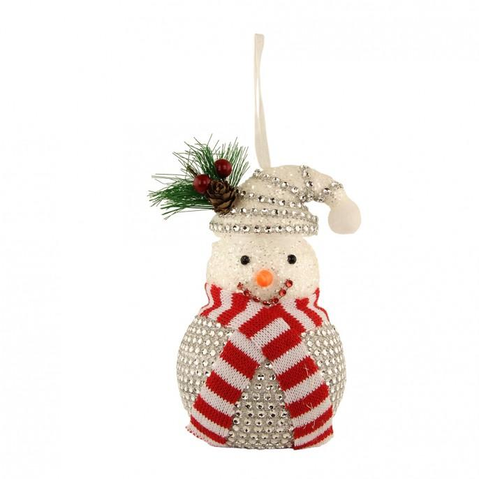 Silver Gem Snowman Hanging Festive Christmas Decoration - FabFinds