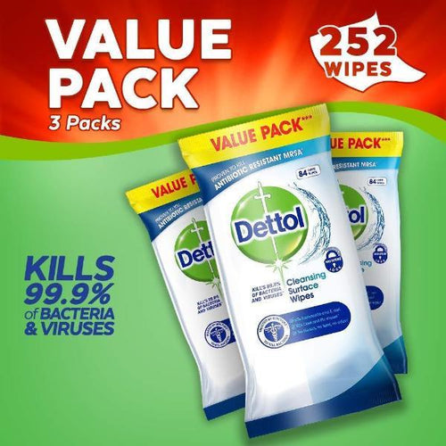 Dettol Anti Bacterial Cleaning Surface Wipes 252 Family Pack