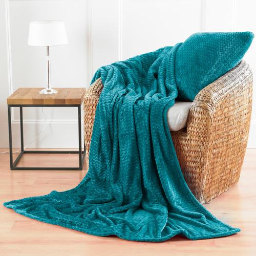 Chevron Microfibre Soft Throw Majestic Teal - FabFinds
