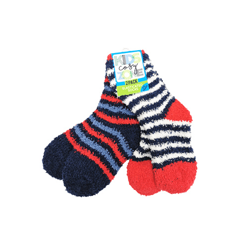 Boy's Cosy Snuggle Socks Blue, Red & White Twin Pack 3-8yrs - FabFinds