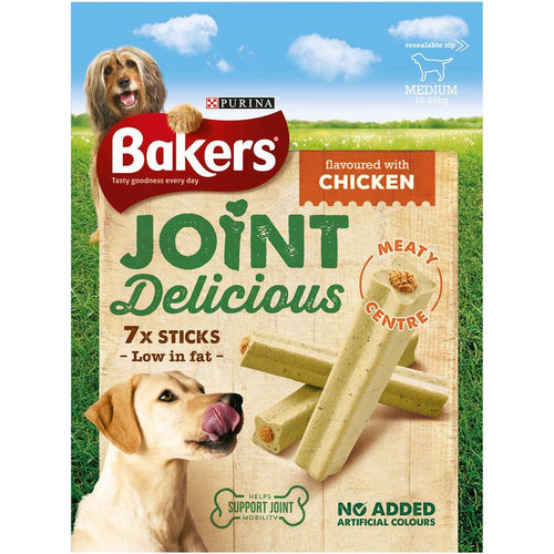 Bakers Joint Delicious Medium Chicken Dog Treat Sticks 180g