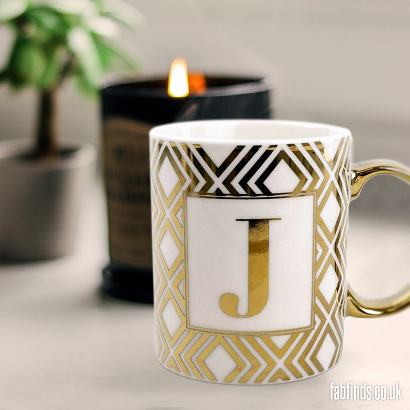 Initial Straight Sided J Mug Gold Patterned 8cm
