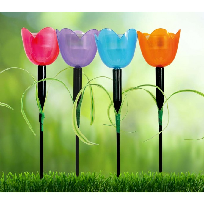 Coloured Tulip Solar Stake Light - FabFinds