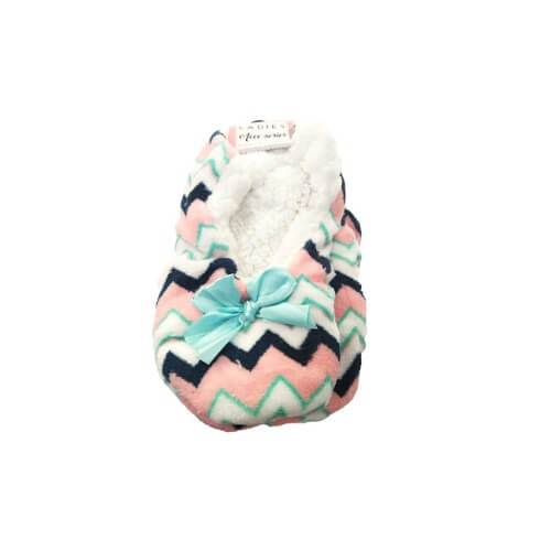 Love to Laze Ladies Cosy Toes Slippers Pink & White Zigzags - FabFinds