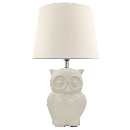Cream Ceramic Owl Lamp 41cm