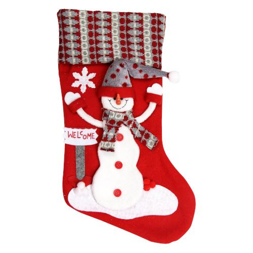 Welcome Snowman Christmas Deluxe Stocking 19""