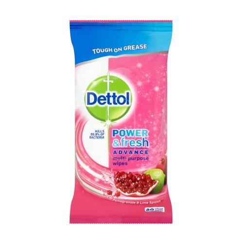 Dettol Power and Fresh Wipes Pomegranate & Lime 80's - FabFinds
