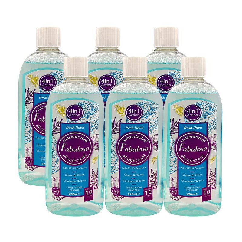 Fabulosa Fresh Linen Concentrated 4 in 1 Disinfectant 220ml Pack of 6 - FabFinds