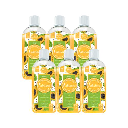 Fabulosa Papaya Concentrated 4 in 1 Disinfectant 220ml 6pk - FabFinds