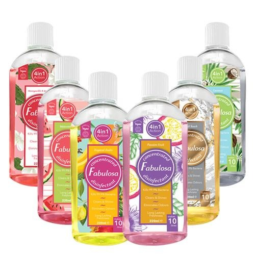 Fabulosa Summer Scents Concentrated 4 in 1 Disinfectant 220ml Pack of 6 - FabFinds