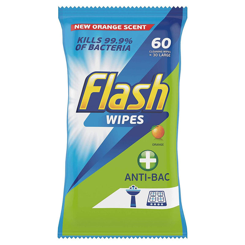 Flash Orange Scented Antibacterial Cleaning Wipes 60's - FabFinds