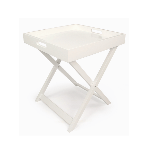 2-in-1 Folding Tray Table Stand White Scandinavian Style