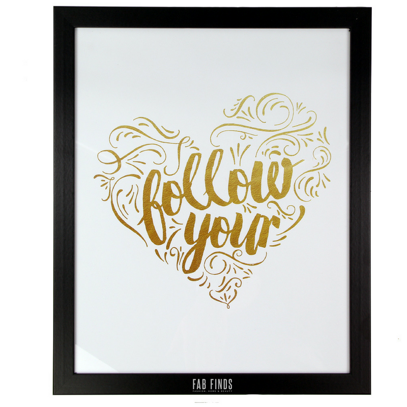 Follow Your Heart Quote Framed Wall Art - FabFinds