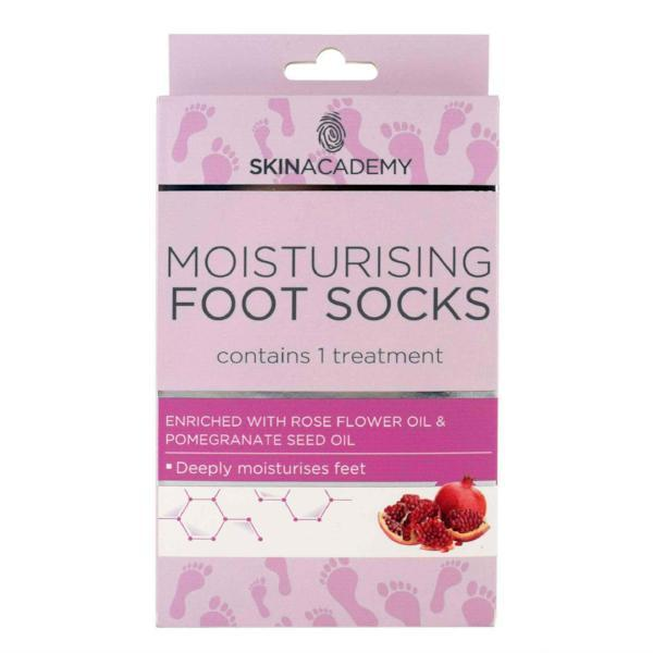Skin Academy Moisturising Foot Socks Rose Flower & Pomegranate Oil - FabFinds