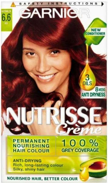 Garnier Nutrisse Creme Permanent Hair Colouring Dye Watermelon Red 6.6 - FabFinds