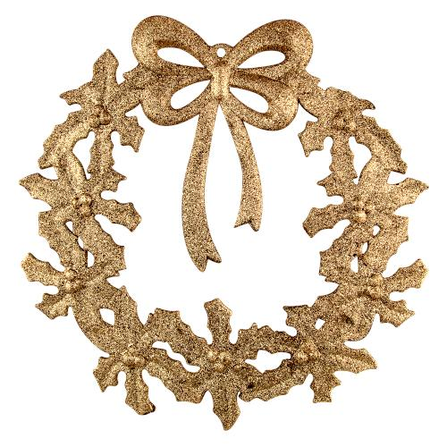 "12"" Festive Glitter Wreath Christmas Decoration - Gold - FabFinds"