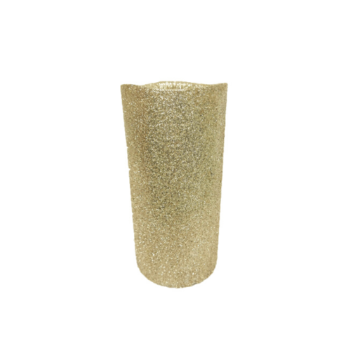 LED Glitter Christmas Pillar Candle Gold - FabFinds