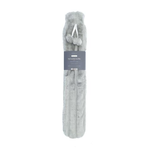 Country Club Faux Fur Hot Water Bottle Long Silver 72cm