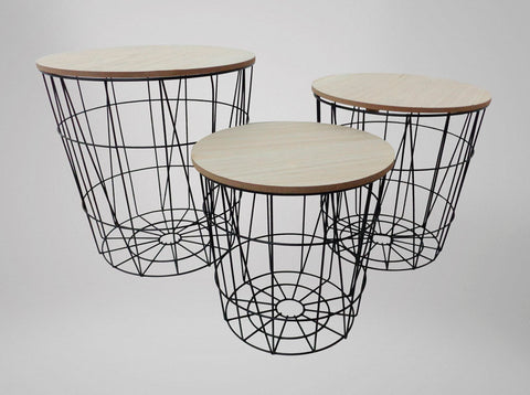 Wooden Metal Rustic Nesting Tables