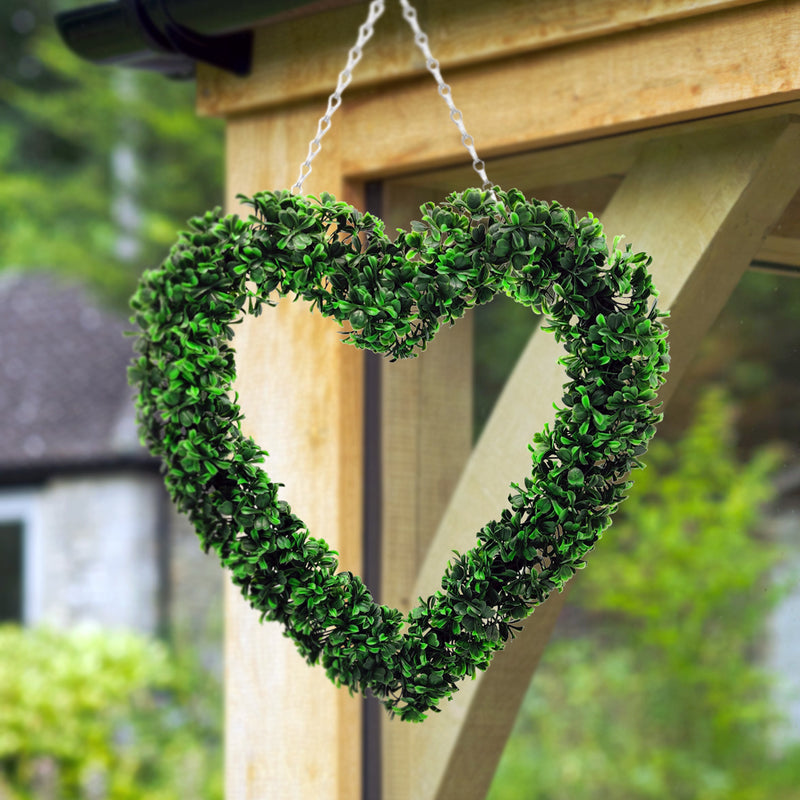 Hanging Artificial Heart Door Wreath