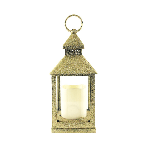 LED Christmas Glitter Lantern Gold - FabFinds