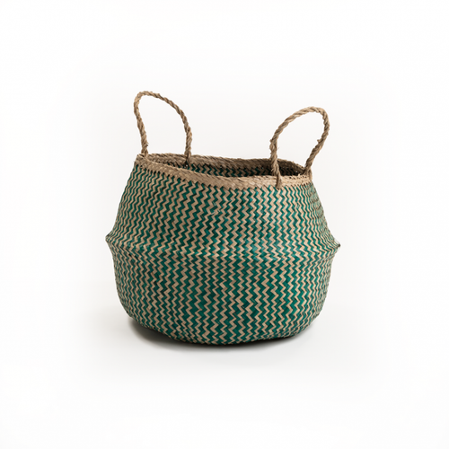 Muno Natural & Emerald Zig Zag Seagrass Basket - Large