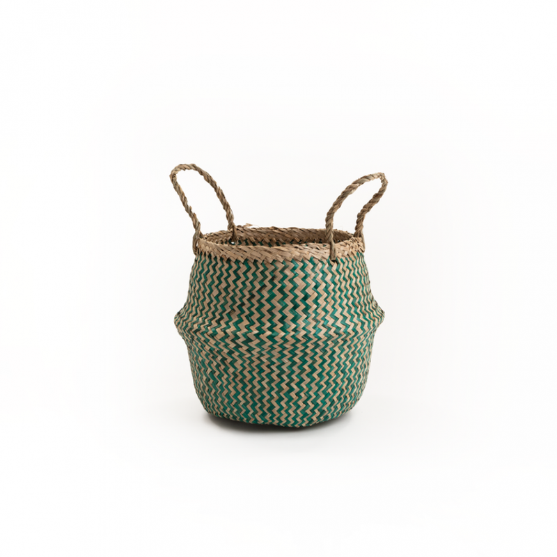Muno Natural & Emerald Zig Zag Seagrass Basket - Small - FabFinds