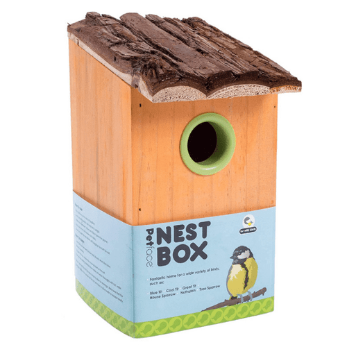 Petface Nest Box with Bark Roof Beige
