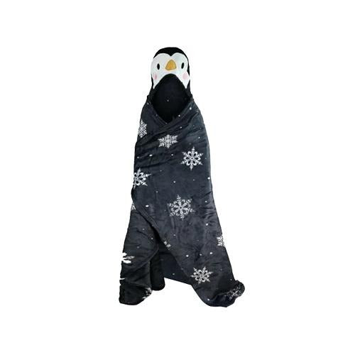 Kids Festive Christmas Cosy Hooded Penguin Blanket - FabFinds