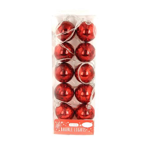 Red Bauble Decorative Christmas Lights 10 Pack