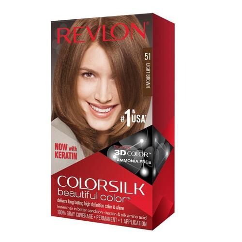 Revlon Colorsilk Hair Colour Light Brown 51 130ml - FabFinds