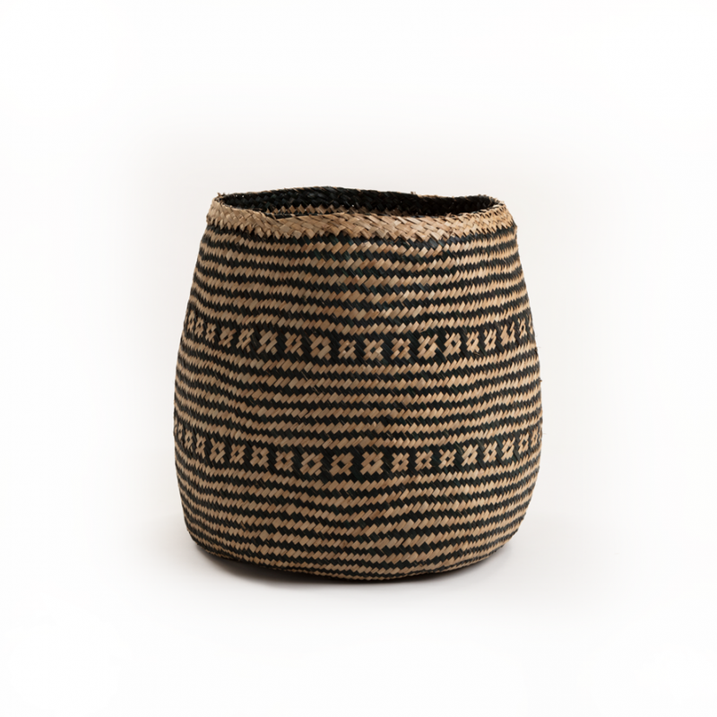 Rizzi Natural & Black Seagrass Wide Basket - Large - FabFinds