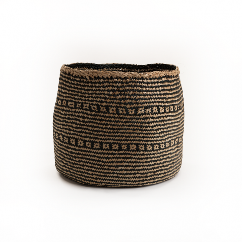 Rizzi Natural & Black Seagrass Wide Basket - Medium - FabFinds