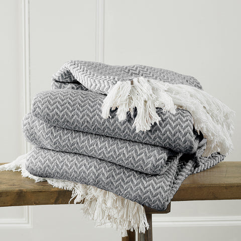 Safi Woven Herringbone Fringed Throw
