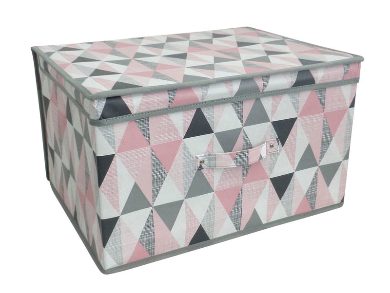 Jumbo Geometic Printed Patterned Storage Chest - FabFinds