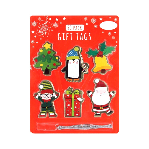 Christmas Gift Tags 50-Pack Polkadot Penguin - FabFinds