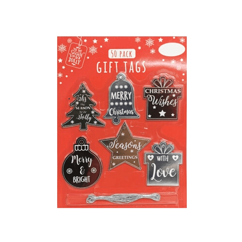 Christmas Gift Tags 50-Pack Shiny Seasonals - FabFinds